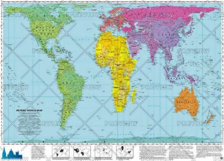 Peters Equal Areas Projection World political by Oxford Cartographers